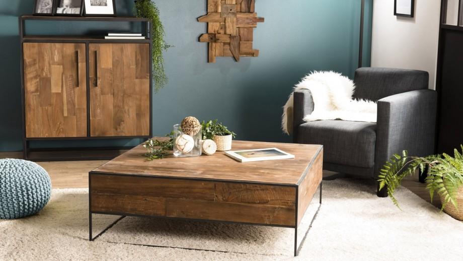 Table basse carrée 100x100cm en teck recyclé et métal - Collection Sixtine