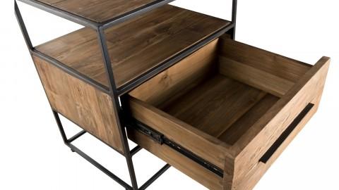 Meuble d'appoint 1 tiroir en teck recyclé et métal - Collection Sixtine