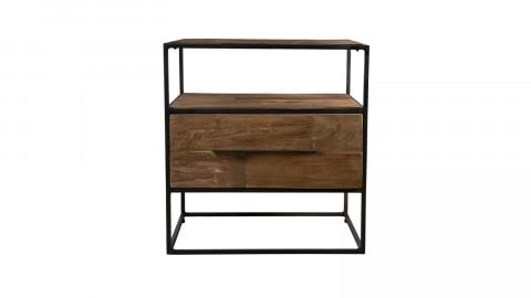 Meuble d'appoint 1 tiroir en teck recyclé et métal - Collection Athena