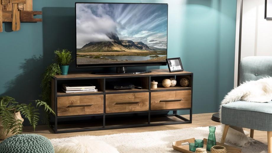 Meuble TV 3 tiroirs 3 niches en teck recyclé et métal - Collection Sixtine