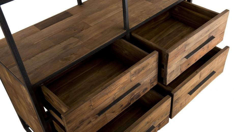 Etagère 4 niveaux 4 tiroirs en teck recyclé et métal - Collection Sixtine