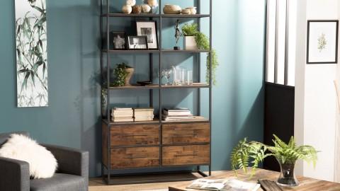 Etagère 4 niveaux 4 tiroirs en teck recyclé et métal - Collection Athena