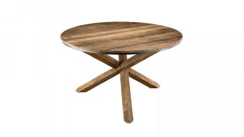 Table à manger ronde piètement croisé en teck recyclé et acacia - Collection Athena