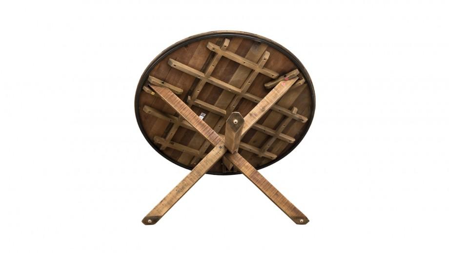 Table à manger ronde piètement croisé en teck recyclé et acacia - Collection Sixtine