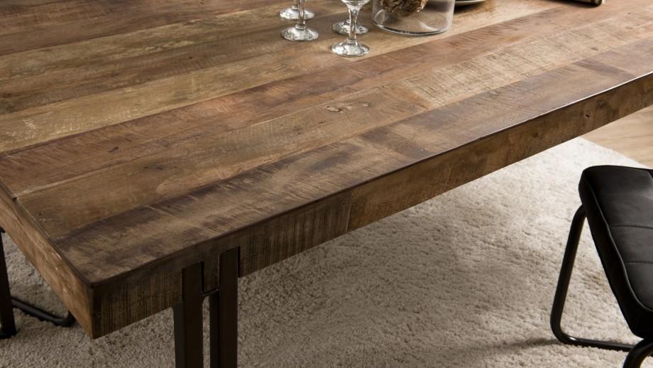 Table à manger en teck recyclé acacia et métal - Collection Sixtine
