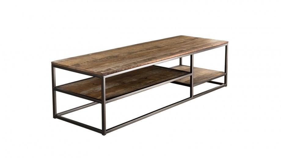 Table basse rectangulaire en teck recyclé acacia et métal - Collection Sixtine