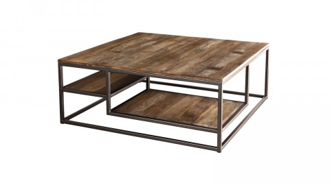 Table basse carrée en teck recyclé acacia et métal - Collection Sixtine