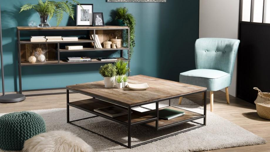 Table basse carrée en teck recyclé acacia et métal - Collection Sixtine