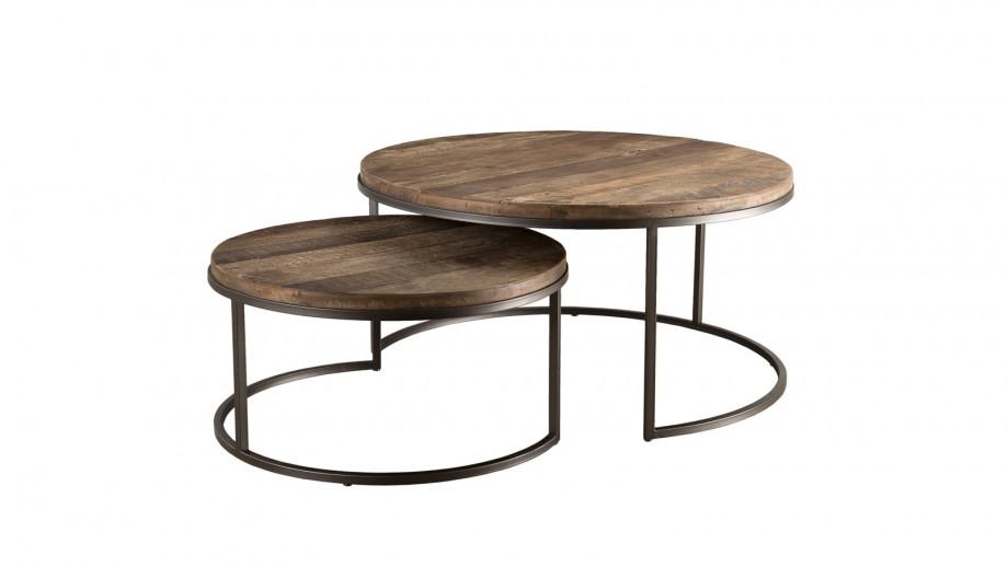 Set de 2 tables basses gigognes en teck recyclé acacia et métal - Collection Sixtine
