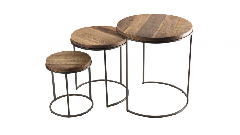 Set de 3 tables rondes gigognes en teck recyclé acacia et métal - Collection Sixtine
