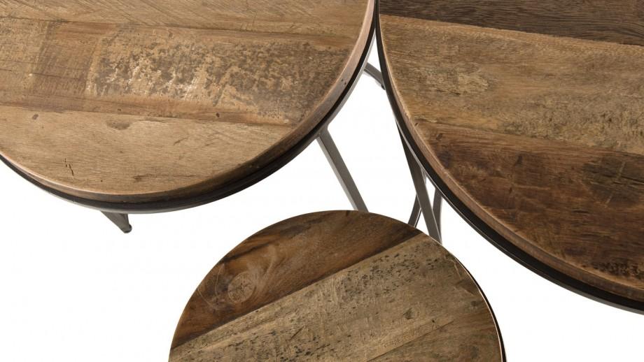 Set de 3 tables rondes gigognes en teck recyclé acacia et métal - Collection Sixtine