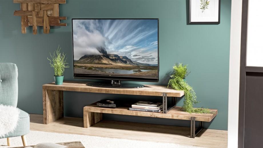 Meuble TV 2 niveaux en teck recyclé acacia et métal - Collection Sixtine