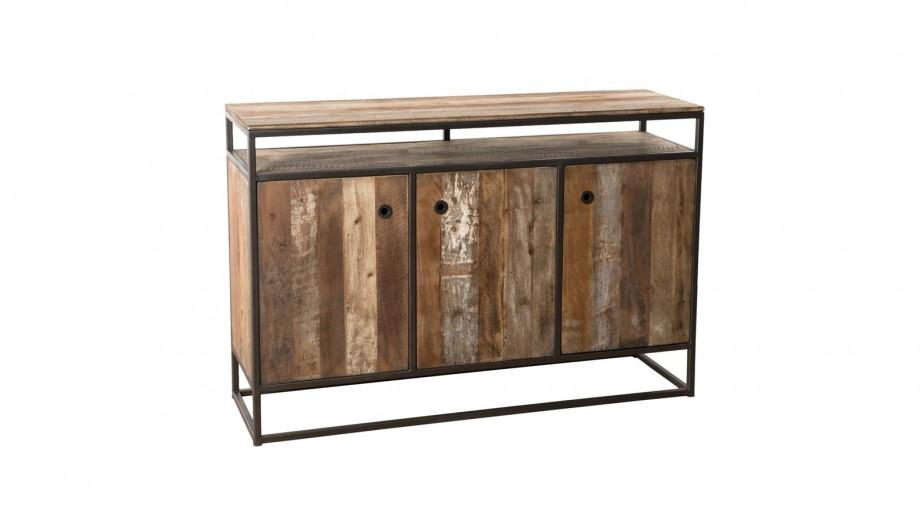 Buffet 3 portes 1 étagère en teck recyclé acacia et métal - Collection Sixtine