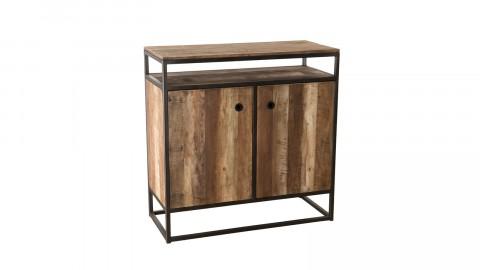 Buffet 2 portes 1 étagère en teck recyclé acacia et métal - Collection Athena