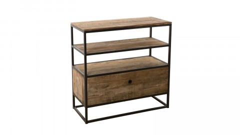 Etagère 1 tiroir 2 étages en teck recyclé acacia et métal - Collection Athena