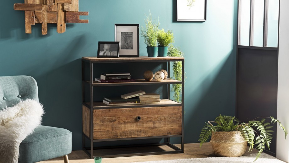 Etagère 1 tiroir 2 étages en teck recyclé acacia et métal - Collection Sixtine