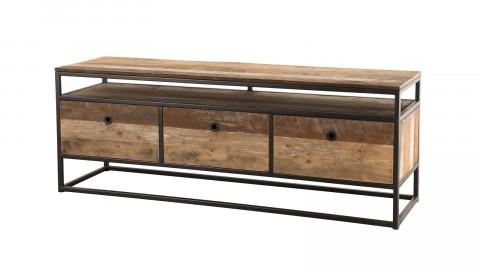Meuble TV 3 tiroirs en teck recyclé acacia et métal - Collection Athena