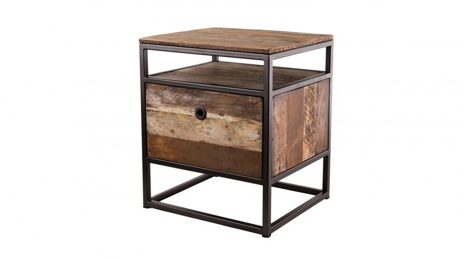 Petit meuble d'appoint 1 tiroir en teck recyclé acacia et métal - Collection Sixtine