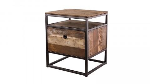 Petit meuble d'appoint 1 tiroir en teck recyclé acacia et métal - Collection Athena