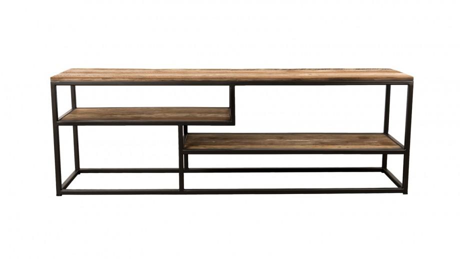 Meuble TV 3 niveaux en teck recyclé acacia et métal - Collection Sixtine