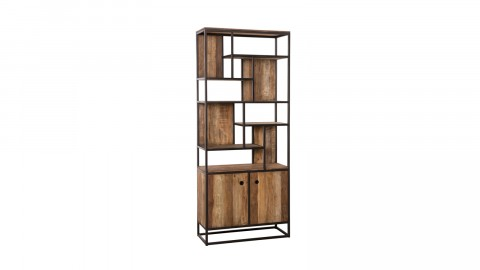 Bibliothèque haute 2 portes 10 niches en teck recyclé acacia et métal - Collection Athena