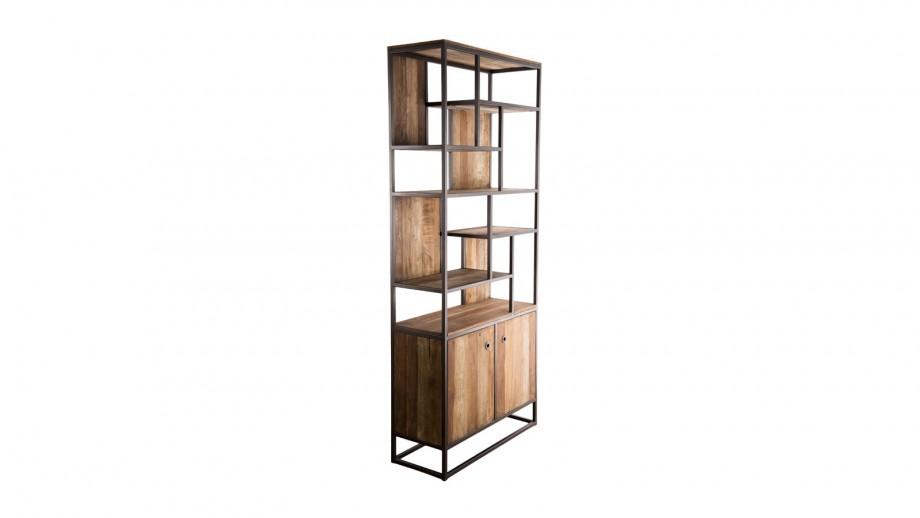 Bibliothèque haute 2 portes 10 niches en teck recyclé acacia et métal - Collection Sixtine