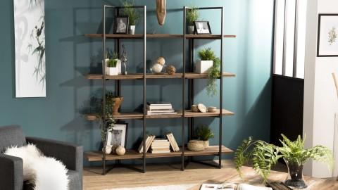 Etagère 4 niveaux en teck recyclé acacia et métal - Collection Athena