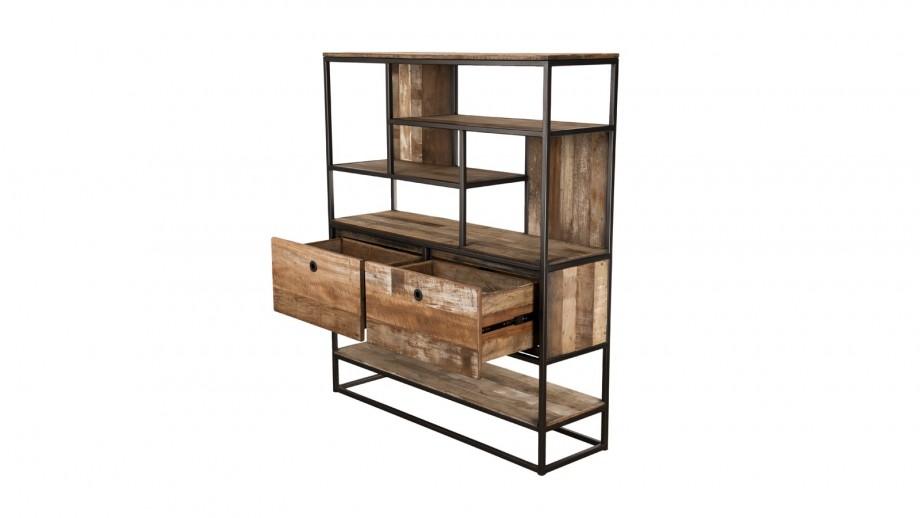 Etagère 2 tiroirs 7 niches en teck recyclé acacia et métal - Collection Sixtine