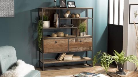 Etagère 2 tiroirs 7 niches en teck recyclé acacia et métal - Collection Athena