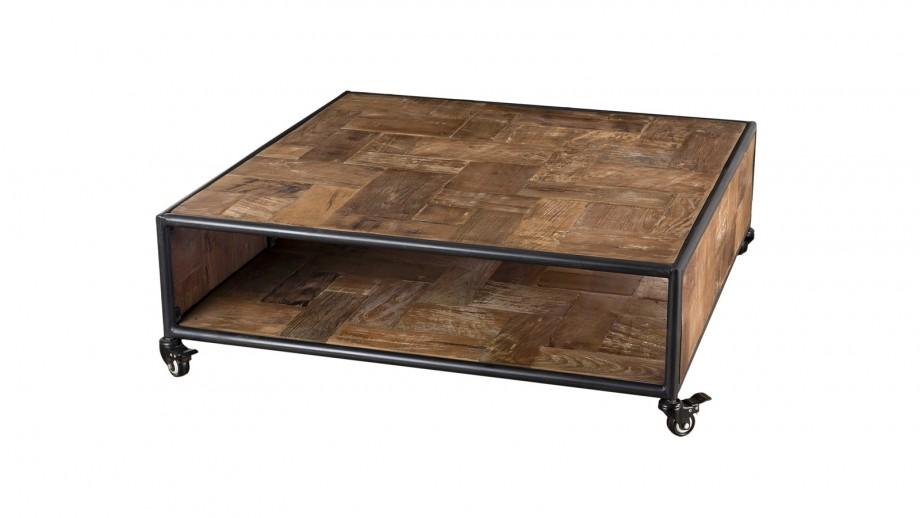 Table basse carrée à roulettes 1 étagère en teck recyclé et métal - Collection Sixtine