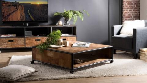 Table basse carrée à roulettes 1 étagère en teck recyclé et métal - Collection Athena