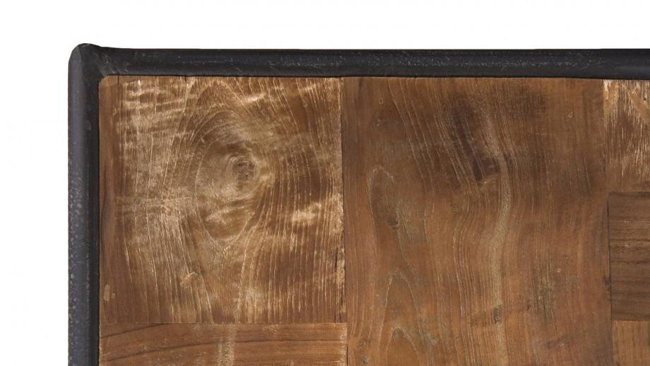 Meuble TV à roulettes 3 tiroirs 3 niches en teck recyclé et métal - Collection Sixtine