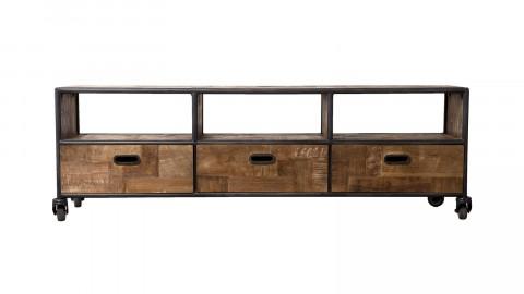 Meuble TV à roulettes 3 tiroirs 3 niches en teck recyclé et métal - Collection Athena