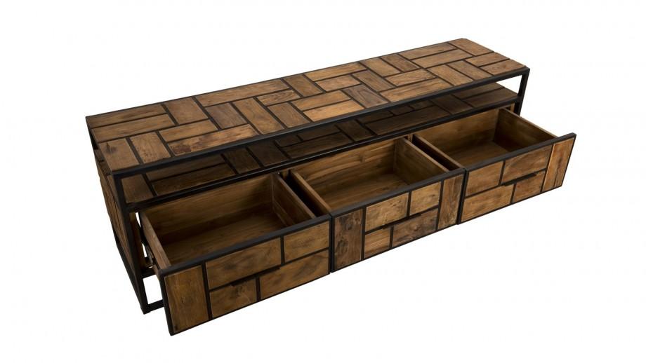Meuble TV 3 tiroirs 1 niche de rangement en teck recyclé et métal - Collection Sixtine