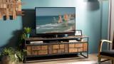 Meuble TV 3 tiroirs 1 niche de rangement en teck recyclé et métal - Collection Athena