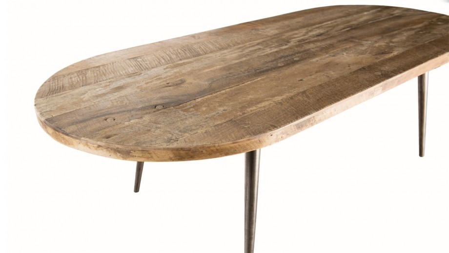 Table basse ovale en teck recyclé et métal - Collection Sixtine