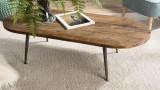 Table basse ovale en teck recyclé et métal - Collection Athena
