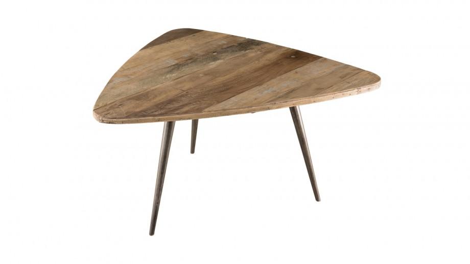 Table basse ovoide en teck recyclé et métal - Collection Sixtine