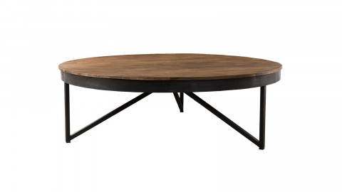 Table basse ronde en teck recyclé piètement métal - Collection Sixtine