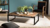 Table basse rectangulaire en teck recyclé piètement métal - Collection Athena