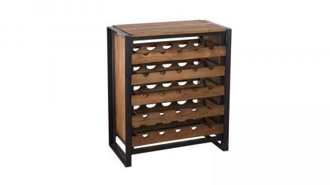 Meuble de rangement à vin 5 niveaux 25 bouteilles en teck recyclé et métal - Collection Athena