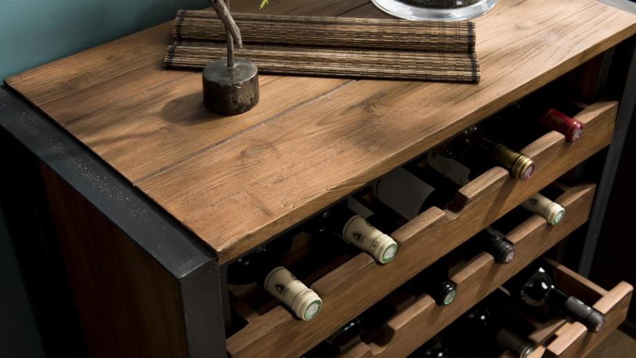 Meuble de rangement à vin 5 niveaux 25 bouteilles en teck recyclé et métal - Collection Sixtine