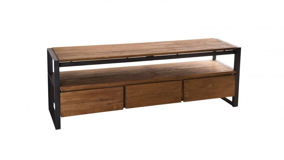 Meuble TV 3 tiroirs et 1 étagère en teck recyclé et métal - Collection Sixtine