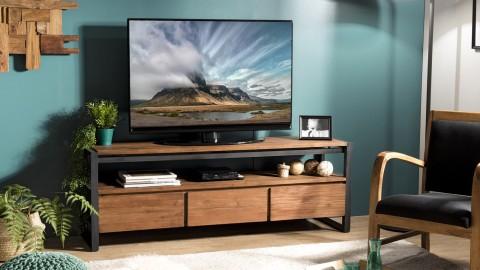 Meuble TV 3 tiroirs et 1 étagère en teck recyclé et métal - Collection Athena