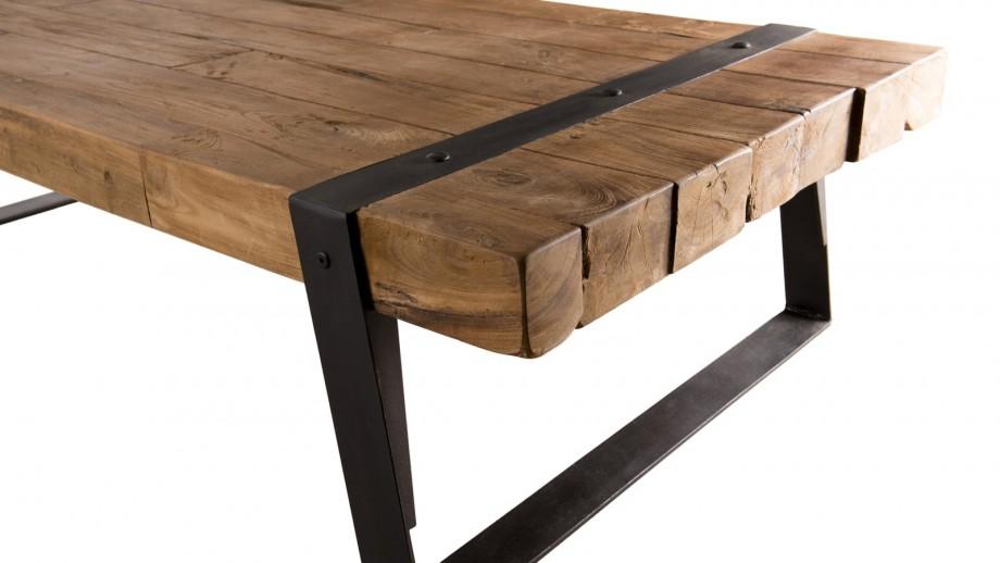 Table basse rectangulaire en teck recyclé piètement incliné en métal - Collection Sixtine