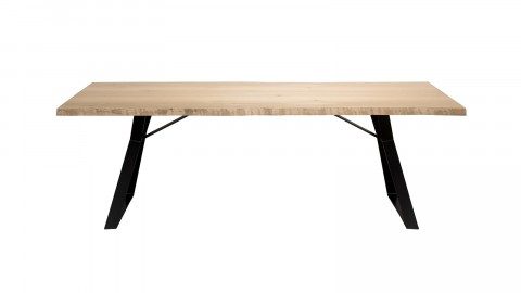 Table à manger 230x100cm en chêne piètement métal noir - Collection Edouard
