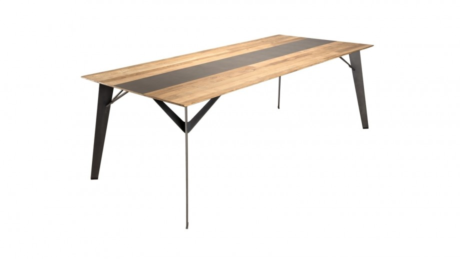 Table à manger 220x100cm en teck recyclé piètement métal noir - Collection Maxence