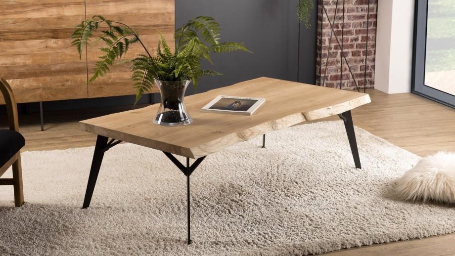 Table basse rectangulaire en chêne piètement métal noir - Collection Maxence