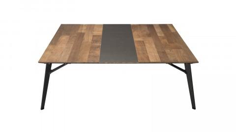 Table basse carrée 120x120cm en teck recylcé piètement métal noir - Collection Edouard