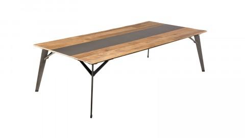 Table basse rectangulaire 140x70cm en teck recyclé teinté piètement en métal noir - Collection Edouard